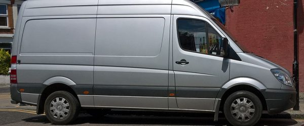 Parked grey van