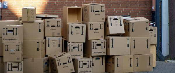 Moving boxes pile