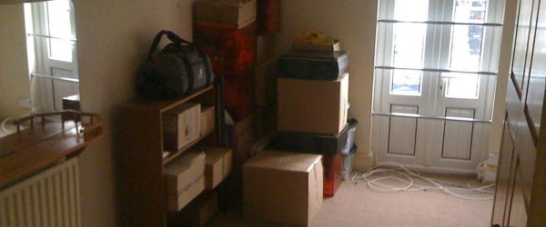 Empty house with boxes